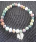 polished semi-precious stone beads angel wings heart stretch bracelet - $3.00