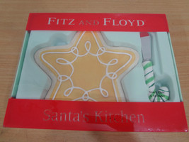 Fitz & Floyd Santa's Kitchen Christmas Star Snack Plate Spreader Set NEW... - $27.93