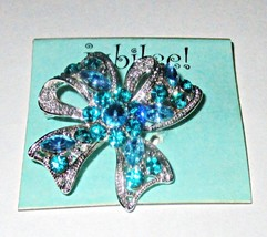 Blue Rhinestone Ribbon Brooch Pin by Jubilee Sold at Hallmark Store NEW - $7.95