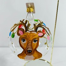 Trimsetter By Dillards Reindeer Garland Handcrafted Clear Glass Ornament... - $45.53