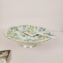 Andrea by Sadek Corona Floral Chintz Gold Footed Cake Plate/Stand & Serv... - £37.41 GBP