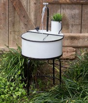Vintage Enamelware Garden Sink Water Fountain Farmhouse - $219.99
