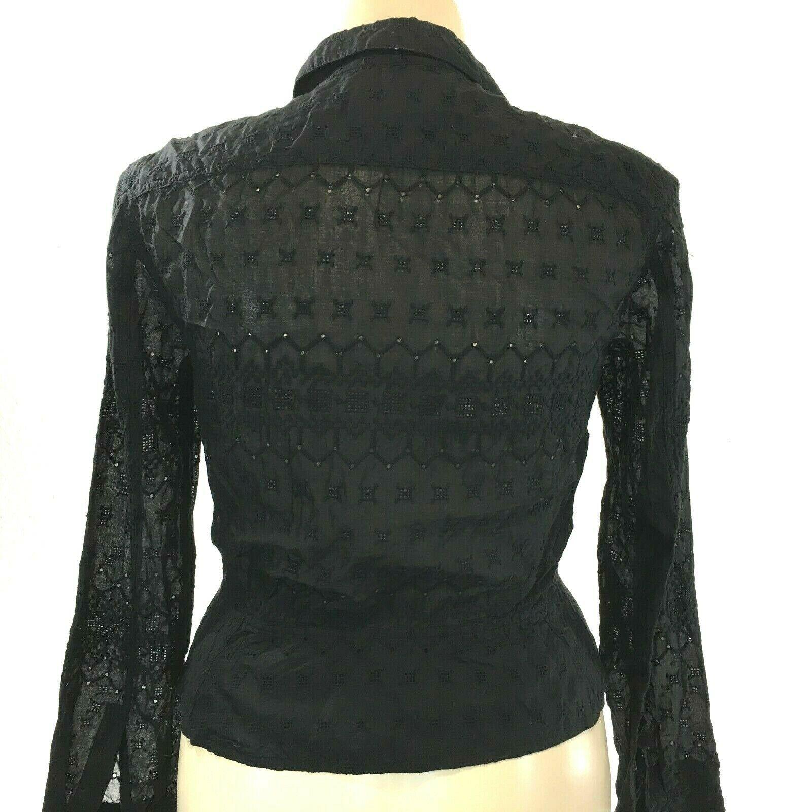 Calvin Klein 14 Large Top Button Shirt Black Eyelet Dot Square Texture Peplum LN image 3