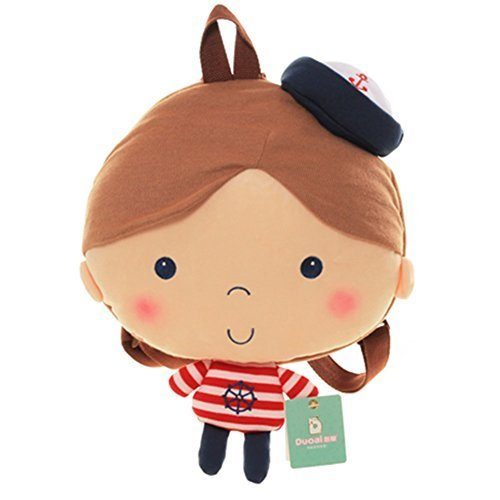 Infant Knapsack Baby Cartoon Backpack Prevent from Getting Lost(White Hat)