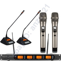 Pro UHF 4 Channel 2 Dynamic Handheld 2 Table Wireless Meeting Microphone... - $415.80