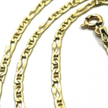 18K YELLOW GOLD CHAIN 2.5 MM, 20 INCHES, ALTERNATE 3 MARINER, 1 OVAL WORKED LINK image 2