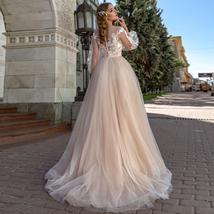 Lace Appliques A-Line Wedding Dress Lantern Sleeves Tulle Boho Wedding Gown image 2