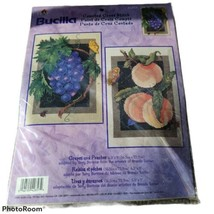 """NWT Bucilla Counted Cross Stitch Grapes And Peaches 6.5""""x9"""" Fruit - $7.03"""