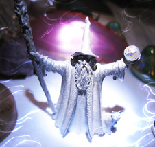 Haunted Wizard 3x Four Wizards Magick Silver & Quartz Crystal Witch Cassia4 - $57.77