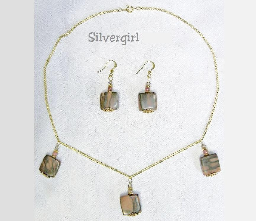 Primary image for Green Zebra Jasper Squares GP Necklace and Earring Set