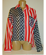 UNIF Red White Blue Flag Blouse Semi Sheer Hi Low Tail Back 4th July-M snag - $45.49