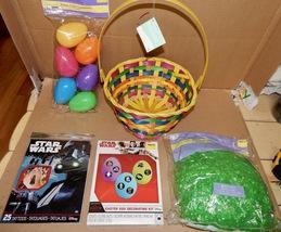"Easter Mix Lot 5 Items Star Wars Tattoos 9"" Basket Plastic Grass & Eggs Dye 163I - $12.49"