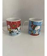 Lot 2 Peanuts Gang Charlie Brown Snoopy Woodstock Christmas Coffee/Tea M... - $10.00