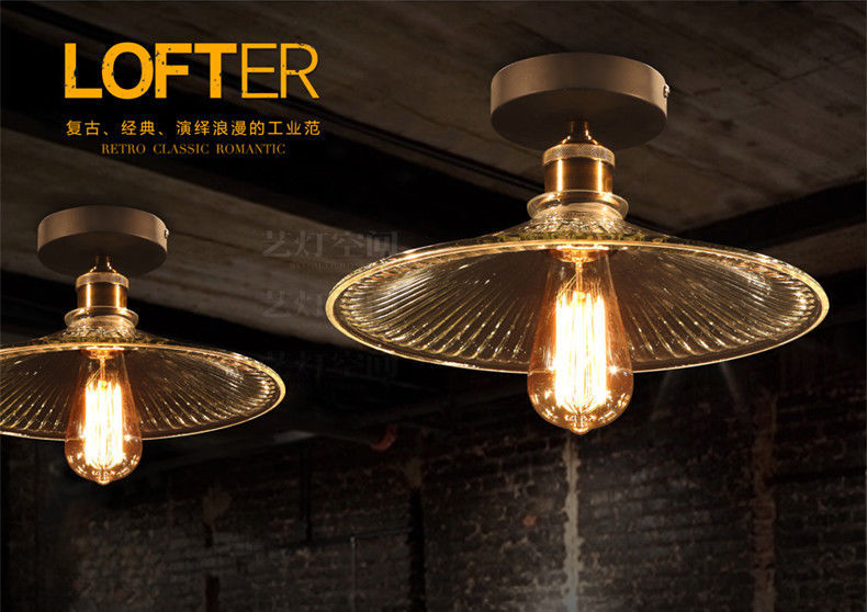 20th C. Factory Filament Ribbed Glass Flushmount E27 Light Ceiling Lamp Home Dec - $93.10