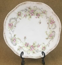 Mignon ZS & Co Bavaria  Hand Painted Plate white pink roses Shabby Chic ... - $4.95