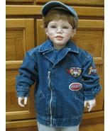 Boys Denim Biker Jacket 24 Mos. Patchs Zipper Pockets Jeans Wear - $10.95