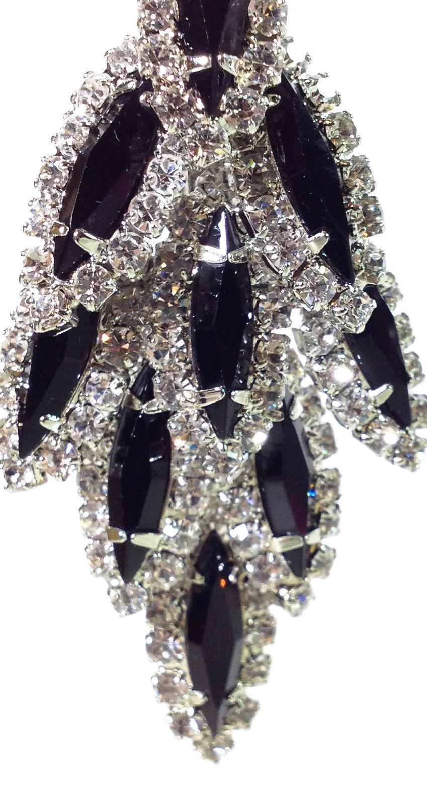 "New Handmade in New England Since 50's  2.5"" Black Crystal Chandelier Earring"