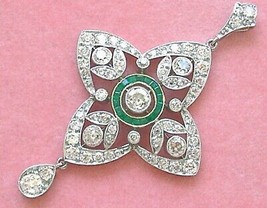 ART DECO 2.48ctw EURO DIAMOND & EMERALD HALO PLATINUM WEDDING COCKTAIL P... - $6,830.01