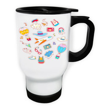 Travel Elements Funny Novelty New Art White/Steel Travel 14oz Mug c549t - $17.79