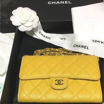 Chanel Matelasse Caviar Chain Shoulder Bag Wallet Purse Yellow Auth New L/d 18SS - $3,373.40