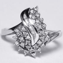 Natural Diamond Cluster Abstract Ring Womens 14K White Gold 0.30 Carat - $349.00