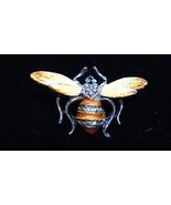 Vintage Silvertone Enamel Bee Pin - $10.00