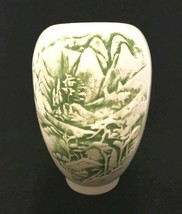"ZP Pottery Vase Green Nature Design Smooth Glaze Stamped on Bottom 6"" Tall - $27.72"