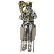 "Jewish Hassidic Figurine Musician Cloth Legs silver plated 925 9,3"" - $34.65"
