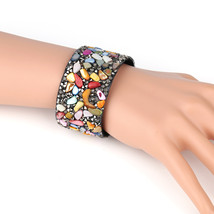 UNITED ELEGANCE Colorful Cuff Wristband With Stones & Swarovski Style Crystals - $11.99