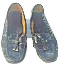 Liz Claiborne Womens Black Croc-Embossed Leather Loafers, Size 8M - $22.50