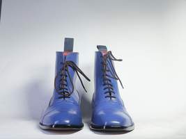 Handmade Men's Blue Two Tone High Ankle Lace Up Dress/Formal Leather Boots image 1