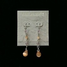"STERLING SILVER 2""x0.25"" Orange+Pink DROP EARRINGS .925 SS Bead FISH HOO... - $14.84"