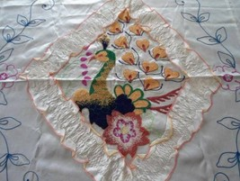 Vintage WWII Satin Bedspread Set Embroidered Peacock Ruffled Cream - $37.04