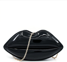 Seneca Heights Hot Lips Crossbody Clutch Bag with chain. Made of faux le... - $37.00