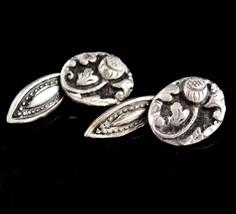 Rare Scottish cufflinks / sterling Thistle  / Victorian silver cufflinks / weddi - $245.00