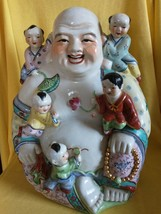 "XL Vtg Porcelain Fertility Buddha with Climbing Children 12""H 9 lb - $123.75"