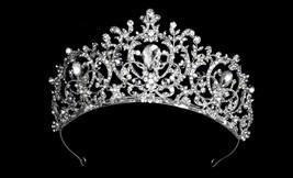 Silver Floral Royal Crystal Tiara Bridal Wedding Sweet 16 Quinceanera Crown - $90.20