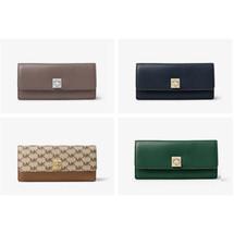 MICHAEL KORS Studio Natalie Heritage LOGO Leather Wallet Blue cinder Pic... - $1.317,14 MXN