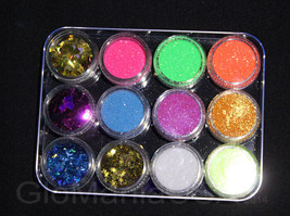 Nail Art Glitter Deco Set with 8 Fine Glitter& hearts,moons,stars,butter... - $9.89