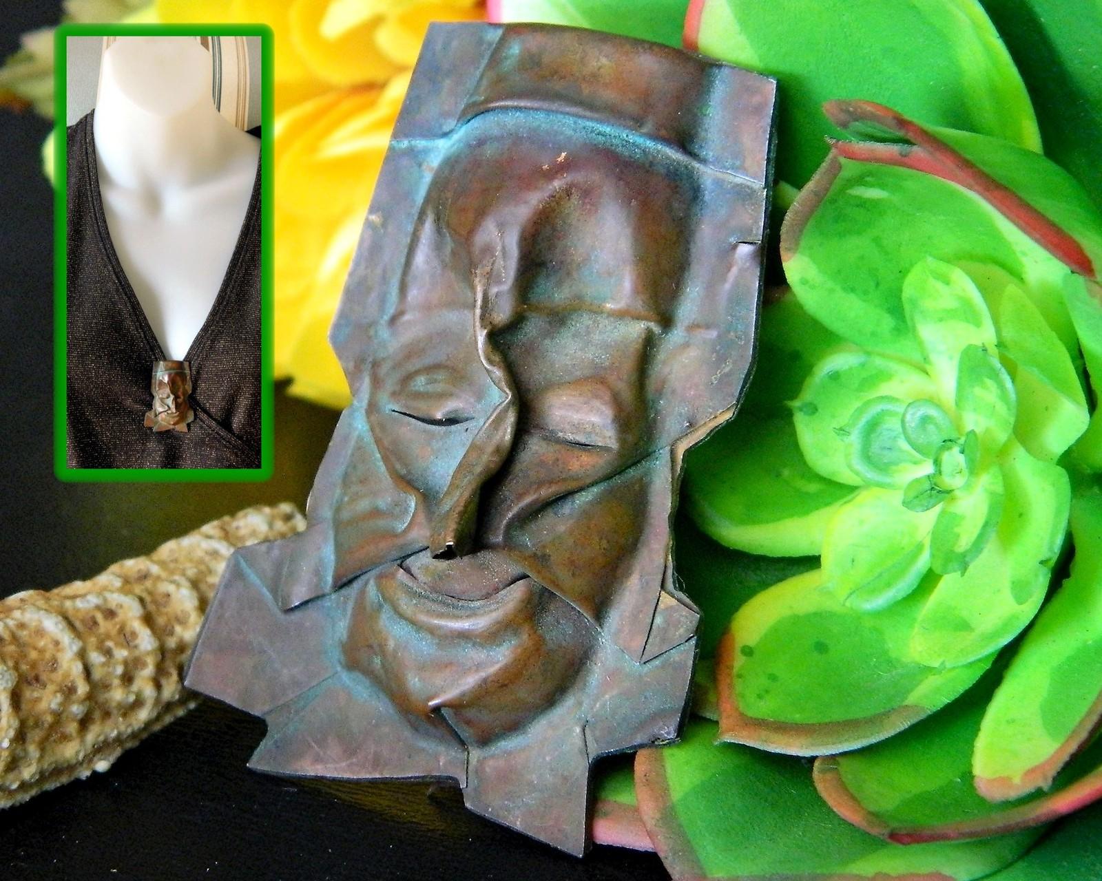 Vintage face pin brooch copper metal artisan handcrafted figural ooak