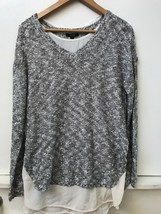 Apt 9 Womens Silver Gray Sweater with sequins and sheer cream layer Size... - $29.95