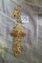 # purse jewelry gold color dragon keychain backpack filigree dangle char... - $3.49