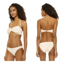 NWT KATE SPADE swimsuit M bikini 2PC set underwire cream Bow bandeau Geo... - $106.69