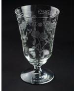 Fostoria Midnight Rose Etch 9oz Footed Tumbler Glass, Vintage Elegant 5 ... - $19.60