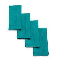 Solino Home Hemstitch Linen Napkins - 20 x 20 Inch, Teal Set of 4 Europe... - $33.82