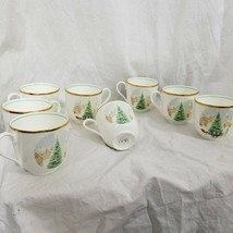 Mikasa Tea Cups Merry Christmas Fine Bone China Coffee Set Of 8 - $108.90