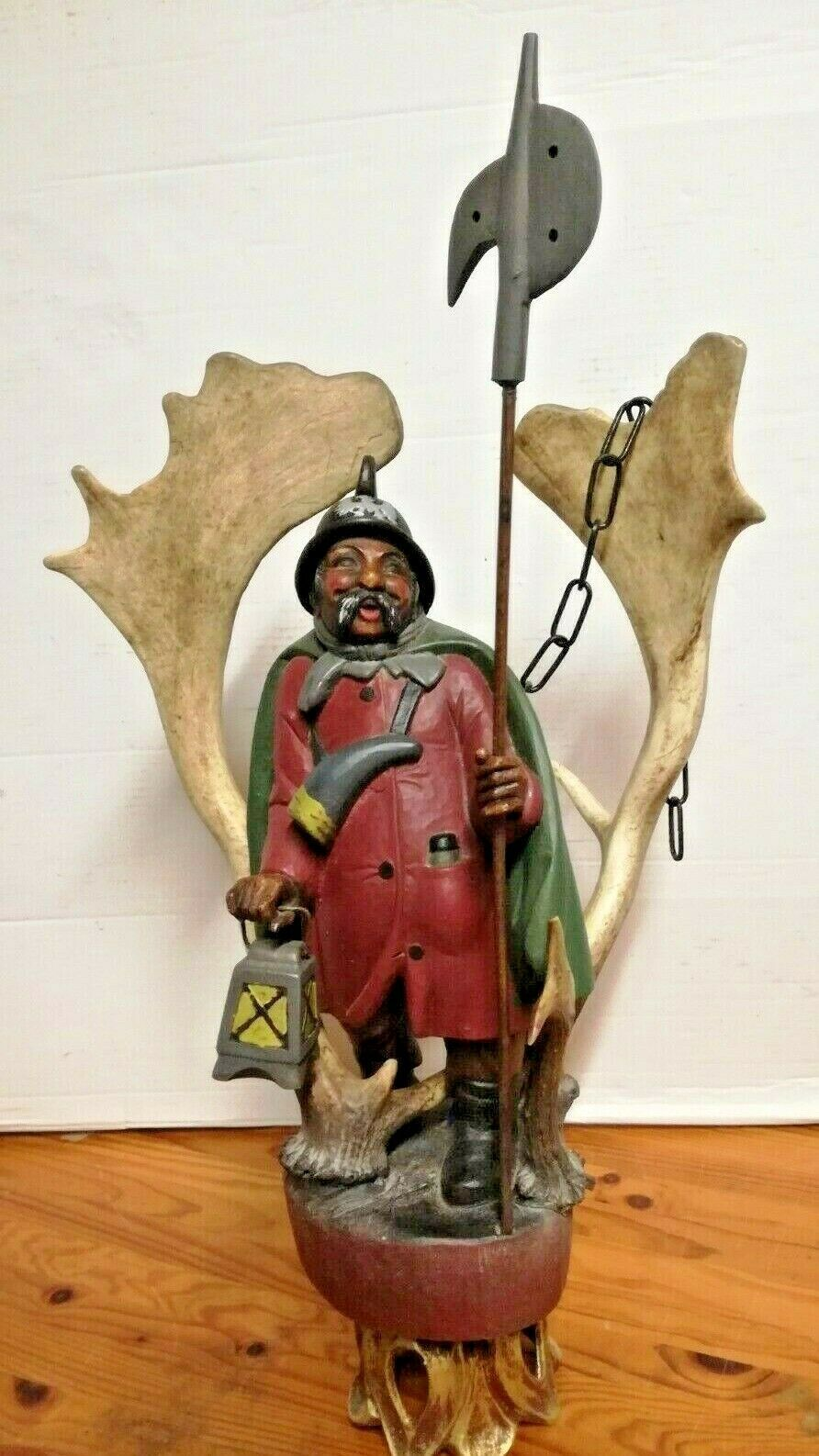 Rare Antique Germany 1930 black forest ceiling lamp wood carved Lüstermännchen