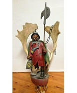 Rare Antique Germany 1930 black forest ceiling lamp wood carved Lüstermä... - $1,400.00
