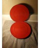 2) RACHAEL RAY PLATES --DOUBLE RIDGE  RED  SALAD PLATES   -FREE SHIP--VGC - $21.79