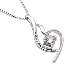 """Mother & Son Forever Love"" Heart Necklace Embellished with Swarovski Cr... - $20.57"